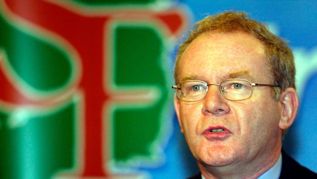 File photo dated 10/11/03 of Martin McGuinness of Sinn Fein speaking at an election press conference in Belfast.  Paul Faith/PA Wire