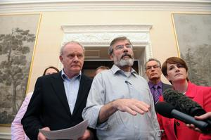 27/1/2010. PACEMAKER BELFAST. GERRY ADAMS AND MARTIN MCGUINNESS HOLD A PRESS CONFERENCE INSIDE HILLSBOROUGH CASTLE. PICTURE CHARLES MCQUILLAN/PACEMAKER.