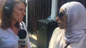 Grenfell Tower, morning after fire, Sarah Brett speaking with people searching for loved ones