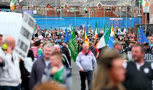 Marchers take part in the anti-internment parade in Belfast. Pic: Kevin Scott / Presseye.