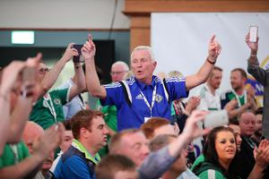 Press Eye - Belfast - Northern Ireland - 28th May 2016 - Photo by Kelvin Boyes / Press Eye.  IFA Squad announcement at Titanic Belfast.  In what is being hailed as one of the most significant events in local sporting history, Northern Ireland have qualified for UEFA Euro 2016 due to take place in France next month.  Fans watch Manager Michael OÕNeil making the squad announcement.