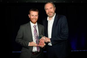 Seamus Wilkinson, Version1, with Darren Broderick from Liberty IT, winner in the Young IT Professional of the Year category