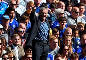 Chelsea's Portuguese manager Jose Mourinho gestures during the English Premier League football match between Chelsea and Arsenal at Stamford Bridge in London on September 19, 2015. AFP PHOTO / BEN STANSALL   RESTRICTED TO EDITORIAL USE. No use with unauthorized audio, video, data, fixture lists, club/league logos or 'live' services. Online in-match use limited to 75 images, no video emulation. No use in betting, games or single club/league/player publications.BEN STANSALL/AFP/Getty Images