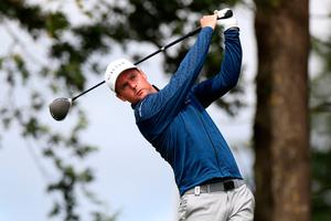Jonathan Caldwell playing on day four of the Betfred British Masters at Close House (Mike Egerton/PA)