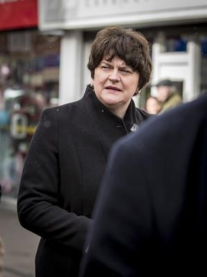 Arlene Foster as the funeral of Harry Gregg takes place at St PatrickÕs Church in Coleraine on February 21st 2020 (Photo by Kevin Scott for Belfast Telegraph)