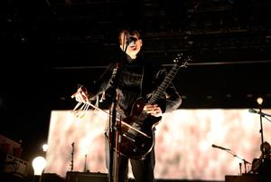 INDIO, CA - APRIL 13:  Musician Jon Por Birgisson of the band Sigur Ros performs onstage during day 2 of the 2013 Coachella Valley Music & Arts Festival at The Empire Polo Club on April 13, 2013 in Indio, California.  (Photo by Frazer Harrison/Getty Images for Coachella)