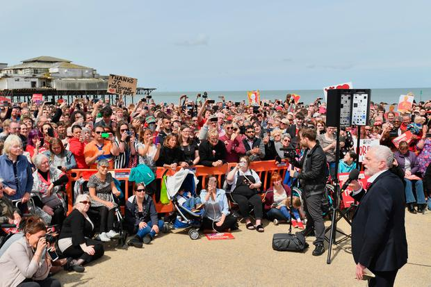 UNSPECIFIED, UNITED KINGDOM - JUNE 07:  Labour party leader Jeremy Corbyn speaks on the Promenade on June 7, 2017 in Colwyn Bay, Denbighshire, United Kingdom. The Labour leader is holding six rallies across Scotland, England and Wales today on the final day before polling day in the General Election  (Photo by Anthony Devlin/Getty Images)