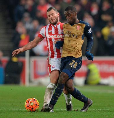 Stoke City's Dutch defender Erik Pieters (L) vies with Arsenal's Costa Rican striker Joel Campbell during the English Premier League football match between Stoke City and Arsenal at the Britannia Stadium in Stoke-on-Trent, central England on January 17, 2016.