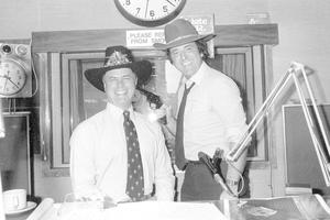 Larry Hagman (left) with Sir Terry Wogan during his Radio 2 Breakfast Show in 1980