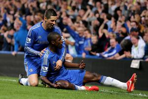 LONDON, ENGLAND - MAY 08:  Ramires of Chelsea celebrates with teammate Fernando Torres (L) after scoring his team's second goal during the Barclays Premier League match between Chelsea and Tottenham Hotspur at Stamford Bridge on May 8, 2013 in London, England.  (Photo by Ian Walton/Getty Images)