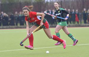 Mandatory Credit: Rowland White / PressEye Belfast Telegraph Schools' Cup Semi-Final Teams: Friends' School (red) v Sullivan Upper (green) Venue: Lisnagarvey Date: 11th February 2015 Caption: Shannon Atkinson, Friends