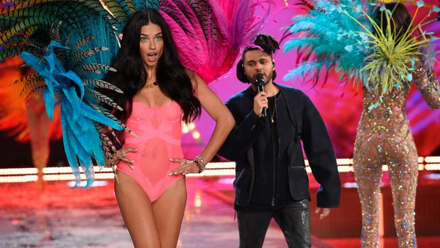 NEW YORK, NY - NOVEMBER 10:  Model and Victoria's Secret Angel Adriana Lima from Brazil walks the runway while singer The Weeknd performs during the 2015 Victoria's Secret Fashion Show at Lexington Avenue Armory on November 10, 2015 in New York City.  (Photo by Dimitrios Kambouris/Getty Images for Victoria's Secret)