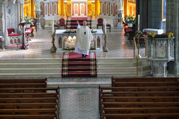 Archbishop Eamon Martin celebrates mass on Easter Sunday 2020 in the empty Cathedral of St Patrick and St Colman, Newry. Photograph: Columba O'Hare/Newry.ie