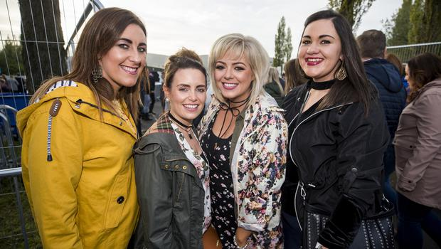 L-R Shauna Rooney, Noleen Chisholm, Ciara McCann, and Claire Kelly out to see Ed Sheeran performing at Boucher Road Playing Fields, Belfast. Wednesday 9th May 2018. Picture by Liam McBurney/RAZORPIX