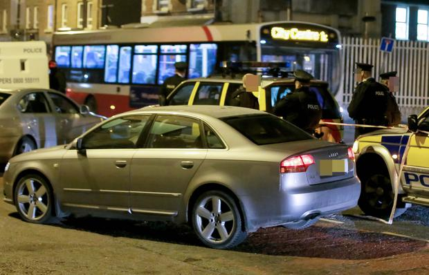 The silver Audi believed to be used by the gunmen as a getaway car on 22th January 2017 (Photo - Kevin Scott / Belfast Telegraph)
