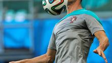 His stage awaits: Ronaldo at yesterday's training session with his Portugal teammates