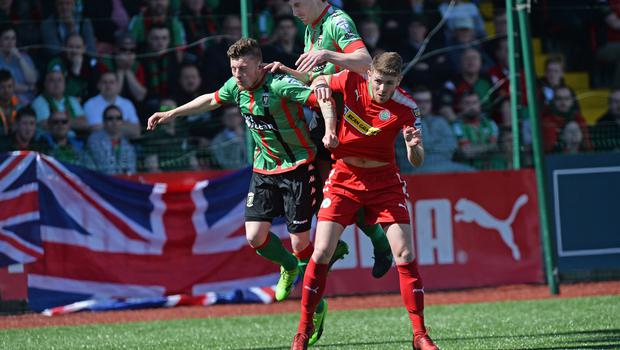 PACEMAKER BELFAST   12/05/2018 Cliftonville v Glentoran Europa league Play Off CliftonvilleÕs Rory Donnelly  and GlentoranÕs William Garrett  during this afternoons game at Solitude in Belfast. Photo Colm Lenaghan/Pacemaker Press