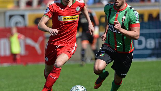 PACEMAKER BELFAST   12/05/2018 Cliftonville v Glentoran Europa league Play Off CliftonvilleÕs Jay Donnelly  and GlentoranÕs John McGuigan  during this afternoons game at Solitude in Belfast. Photo Colm Lenaghan/Pacemaker Press