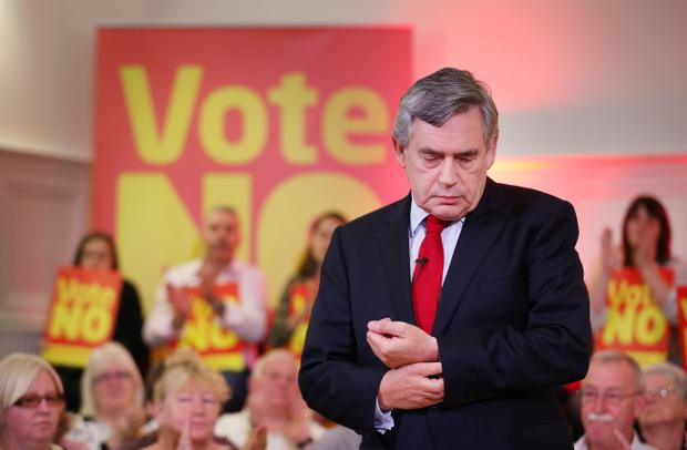 GLASGOW, SCOTLAND - SEPTEMBER 16:  Former Prime Minister Gordon Brown pauses as he speaks at Dumbarton Town hall to No campaigners on September 16, 2014 in Glasgow, Scotland. Yes and No supporters are campaigning in the last two days of the referendum to decide if Scotland will become an indpendent country.  (Photo by Peter Macdiarmid/Getty Images)