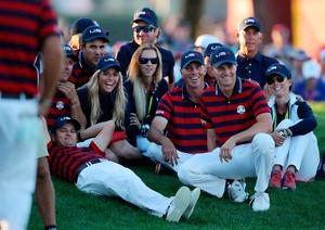 USA's Jordan Spieth (right) and USA's Matt Kuchar (second right) during the Fourballs on day two of the 41st Ryder Cup at Hazeltine National Golf Club in Chaska, Minnesota, USA. Peter Byrne/PA Wire.
