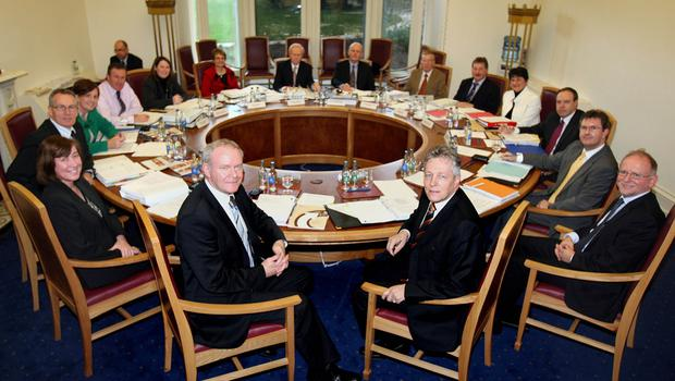 PACEMAKER BELFAST 20/11/08 First Minister Peter Robinson  (front  right) and deputy First Minister Martin McGuinness (front left),at the Northern Ireland Executive meeting in Stormont Castle ,20th  November 2008,The Northern Ireland Executive will met today for the first time since June after the Democratic Unionist Party (DUP) and Sinn Fein agreed an end to their stand-off.An economic aid package is expected to top the agenda at today's meeting after a delegation yesterday met Prime Minister Gordon Brown to appeal for financial support.