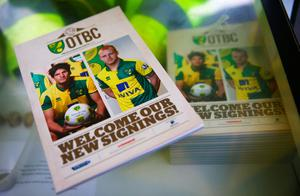 NORWICH, ENGLAND - JANUARY 23: Matchday programmes are on sale prior to the Barclays Premier League match between Norwich City and Liverpool at Carrow Road on January 23, 2016 in Norwich, England.  (Photo by Clive Mason/Getty Images)