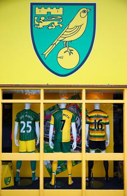 NORWICH, ENGLAND - JANUARY 23:  Norwich City uniforms are displayed at the official marchandise prior to the Barclays Premier League match between Norwich City and Liverpool at Carrow Road on January 23, 2016 in Norwich, England.  (Photo by Clive Mason/Getty Images)