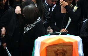 The funeral  of Tommy Crossan at St John's Church on the Falls Road in West Belfast. Pic Colm Lenaghan/Pacemaker