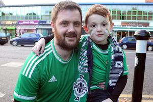 PACEMAKER BELFAST   08/10/2015 Excited Northern Ireland fans before this evenings crucial game against Greece at Windsor Park. Jake Quinn and his dad Graham Quinn. Picture Matt Bohill.