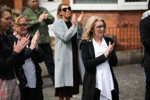 Press Eye - Belfast - Northern Ireland - 4th May 2020 -    Family and friends including Mr HoggÕs wife Elish McDonnell Hogg, pictured at the funeral of actor BJ Hogg in Lisburn, County Antrim. He was best known as Big Mervyn in the BBC series Give My Head Peace, but BJ Hogg was also a hugely versatile TV, stage and screen actor.  Mr HoggÕs wife Elish McDonnell Hogg, son Nathan and daughter Abigail joined other family and friends.   Photo by Kelvin Boyes / Press Eye.