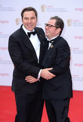 David Walliams (left) and Alan Carr  arriving for the 2013 Arqiva British Academy Television Awards at the Royal Festival Hall, London. PRESS ASSOCIATION Photo. Picture date: Sunday May 12, 2013. See PA story SHOWBIZ Bafta. Photo credit should read: Dominic Lipinski/PA Wire