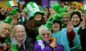 Revellers during the St Patrick's day parade through Dublin city centre on St Patrick's day. PRESS ASSOCIATION Photo. Picture date: Sunday March 17, 2013. Photo credit should read: Julien Behal/PA Wire