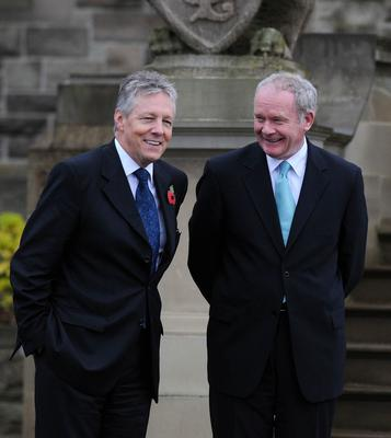 PACEMAKER PRESS INTL BELFAST 11/11/2009. First Minister Peter Robinson and Deputy First Minister Martin McGuinness wait to greet Irish Foreign Secretary Micheal Martin at Stormont castle this morning. Picture Charles McQuillan/Pacemaker.