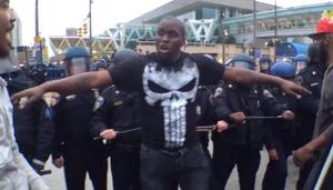 Baltimore man created a one-man barrier between protesters and officers