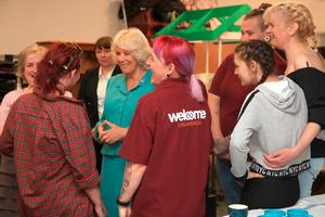 The Duchess of Cornwall visits the Belfast Welcome Organisation which has been providing potentially life-saving services and support to people affected by homelessness in Belfast since 1997. PRESS ASSOCIATION Photo. Picture date: Wednesday May 22, 2019. See PA story ROYAL Tour. Photo credit should read: Owen Humphreys/PA Wire