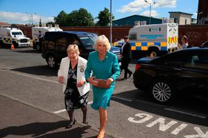 The Duchess of Cornwall arrives for her visit to the Belfast Welcome Organisation which has been providing potentially life-saving services and support to people affected by homelessness in Belfast since 1997. PRESS ASSOCIATION Photo. Picture date: Wednesday May 22, 2019. See PA story ROYAL Tour. Photo credit should read: Owen Humphreys/PA Wire