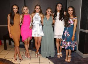 Erin Cassidy, Julia McCann, Ella Rourke, Eile Bradley, Cara Gordon and Michela McAvoy pictured at the Belfast Telegraph Sports Awards sponsored by Linwoods 2015 at the Ramada Hotel, Belfast.