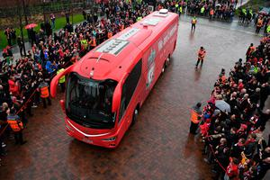 The Liverpool team bus arrives at the stadium prior to the Premier League match between Liverpool and Everton at Anfield on April 1, 2017 in Liverpool, England.  (Photo by Gareth Copley/Getty Images)