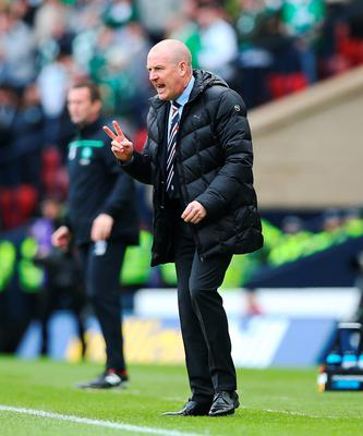 GLASGOW, SCOTLAND - APRIL 17:  Rangers manager Mark Warburton reacts during the Scottish Cup Semi Final between Rangers and Celtic at Hampden Park on April 17, 2016 in Glasgow, Scotland. (Photo by Ian MacNicol/Getty)