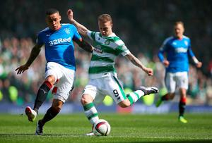 GLASGOW, SCOTLAND - APRIL 17:  James Tavernier of Rangers vies with Leigh Griffiths of Celtic during the Scottish Cup Semi Final between Rangers and Celtic at Hampden Park on April 17, 2016 in Glasgow, Scotland. (Photo by Ian MacNicol/Getty)