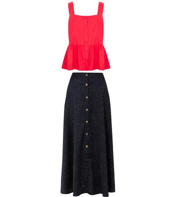 Linen rich camisole top, £25, polka dot a-line maxi skirt, £39.50, Marks & Spencer Collection
