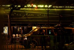 TOPSHOTS A photo taken on November 14, 2015 shows the Bataclan cafe near the Bataclan concert hall in central Paris. More than 100 people were killed in a mass hostage-taking at a Paris concert hall on November 13 and many more were feared dead in a series of bombings and shootings, as France declared a national state of emergency.    AFP PHOTO / MARTIN BUREAUMARTIN BUREAU/AFP/Getty Images