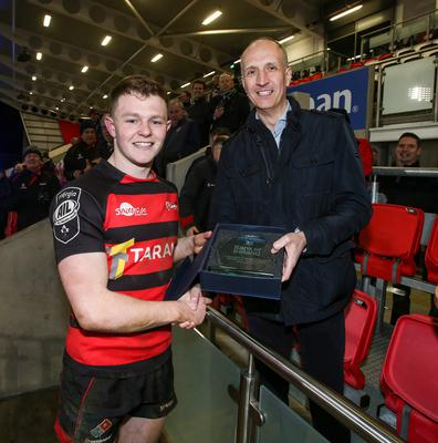 Friday 6th March 2020 | Armagh RFC vs Ballynahinch RFC  Ian Sheppard representing the Bank of Ireland presents the Bank of Ireland Man of The Match t City Of Armagh fullback Shea OBrien after the Bank Of Ireland Ulster Senior Cup Final between the City of Armagh RFC and Ballynahinch RFC at Kingspan Stadium, Ravenhill Park, Belfast, Northern Ireland. Photo by John Dickson / DICKSONDIGITAL