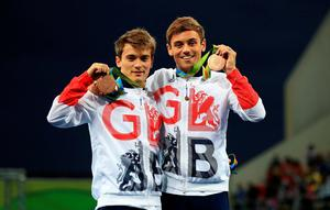 Great Britain's Tom Daley (right) and Daniel Goodfellow (left) celebrate with their bronze medals after the Men's Synchronised 10m Platform Final at the Maria Lenk Aquatics Centre on the third day of the Rio Olympic Games, Brazil. PRESS ASSOCIATION Photo. Picture date: Monday August 8, 2016. Photo credit should read: Mike Egerton/PA Wire. RESTRICTIONS - Editorial Use Only.
