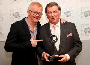 Sir Terry Wogan (right), winner of 'Digital Radio Personality of the Year', with Chris Evans at the TRIC (Television and Radio Industries Club) Annual Awards, in 2010