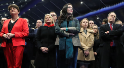 DUP members with party leader Arlene Foster (left), Emma Little-Pengelly and Nigel Dodds at the election count in the Titanic Exhibition Centre, Belfast