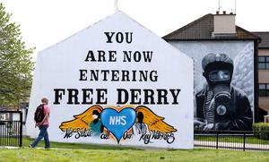Free Derry corner with a message thanking the NHS and Key workers added during the Coronavirus pandemic. PICTURE BY STEPHEN DAVISON
