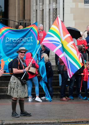 Campaigners calling for the introduction of same sex marriage in Northern Ireland gather in front of St Anne's Cathedral before they staged a parade and rally in Belfast City centre. PRESS ASSOCIATION Photo. Picture date: Saturday July 1, 2017. See PA story ULSTER Marriage. Photo credit should read: Niall Carson/PA Wire