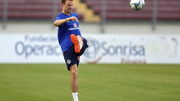 Press Eye - Belfast -  Northern Ireland - 28th May 2018 - Photo by William Cherry/Presseye  Northern Ireland's Jonny Evans during Monday evenings training session at the Estadio Rommel Fernandez, Panama City.