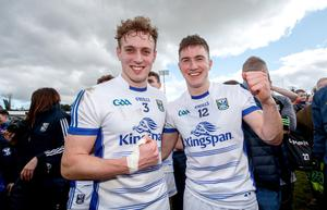 Oisin celebrates with Padraig Faulkner after helping Cavan to promotion to Allianz Football League Division One with victory over Tipperary in March 2018.